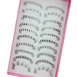 Wholesale False Bottom - 10 Pairs Mix Size Natural Handmade Under Lashes False Eyelashes Makeup Soft Long Cross Lower Bottom Fake Eye Lashes Extension