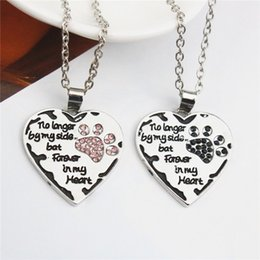 Wholesale Dog Chain Long - Heart Dog Paw Necklace No Longer By My Side Pendant Necklaces Silver Plated Rhinestone Women Short Sweet Necklaces