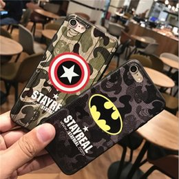 Wholesale Superman Phone Covers - For iphone7 plus cell phone Batman cases with iphone6s Matte individual tide men ultra - thin relief Superman protective cover free shipping