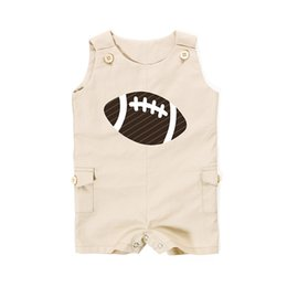 Wholesale Football Clothing Sale - Summer New Style American Football Baby Boy Clothes Sport Baby Boy Clothing Hot Sales Sleeveless Cotton Boy Romper