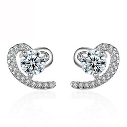 Wholesale Cz Ear Rings - Sanbuzhi Band New Zircon Wedding Stud Earring 2017 New Silver CZ Simulated Diamonds Engagement Beautiful Jewelry Crystal Ear Rings ZE16