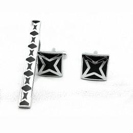 Wholesale Copper Cufflinks - Elegant nice Cufflink tie clips set enamel Cufflinks and tie bar Wedding gift for men ACK