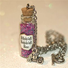 Wholesale Wholesale Cinderella Carriages - 12pcs Bibbidi-Bobbidi-Boo Bottle of Magic Necklace with Pumpkin Carriage Charm Cinderella Fairy necklace in silver