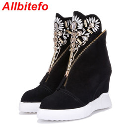 Wholesale Wedge Ankle Heels - Wholesale-ALLBITEFO fashion brand Rhinestone Flower wedges heel ankle boots genuine leather Height Increasing maritn boots woemn boots