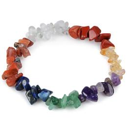 Wholesale Crystal Chip Bracelets - 7 Chakra Healing Natural Elastic Bracelet Charm Agate Chip Beads Amethyst Crystal Bracelet Bohemian Boho Women