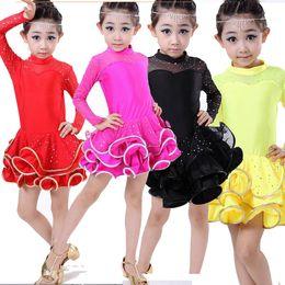 Wholesale Latin Salsa Dance Skirts - Kids Latin Salsa Dance Dress Children Performance Clothing Girls Tutu Skirt Costumes Stage Dance Wear 4 color Free Shipping