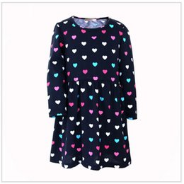 Wholesale Children Christmas Jumper Cotton - 2017 Heart Print Girls One-Piece Dresses Euro Fashion Brand New Cotton Children Dress Baby Girl Clothes Jumper Long Sleeve Shirt
