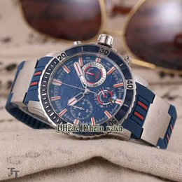 Wholesale Shark Analog Watches - High Quality Brand Ulysse Diver 1503-151LE-3 93-HAMMER Hammerhead Shark Blue Dial Quartz Chronograph Men's Watch Rubber Strap Folding Buckle