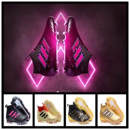 Wholesale Mens Leather Army Boots - 2017 cheap blackout soccer cleats ACE 17.1 FG high top football boots new mens soccer shoes messi shoes outdoor gold purecontrol