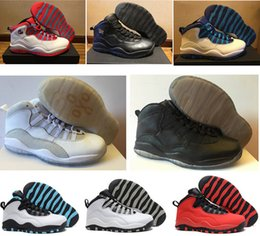 Wholesale Cheap Ladies Sneakers - Cheap air retro 10 ovo Steel Grey white black Powder Blue Lady Liberty Chicago GS Fusion Red Bobcats mens boys basketball shoes sneakers