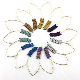 Wholesale Arrowhead Charms - Trendy Arrowhead Chevron Hematite Stone Hook Charms Earrings for Women Fashion Earrings Jewelry Geometric Jewellery Wholesale