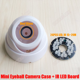 Wholesale Dome Ir Housing - DIY PP Plastic Mini Eyeball Dome Camera Casing with 24PCS IR LED Board Fixed Lens Video Security Camera Case Indoor CCTV Housing