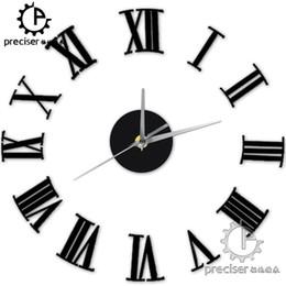 arredamento romano Sconti Numeri romani all'ingrosso digitale al quarzo fai-da-te moderno orologio acrilico orologio da parete d'epoca soggiorno home decor auto-adhensive retrò orologio da parete