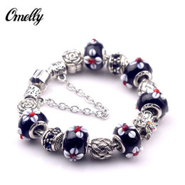 Wholesale Bulk Christmas Charms - Fashion Charms Bracelet Flower Murano Charms Bangles with Pendant Wedding Jewelry Christmas Gift Wholesale In Bulk
