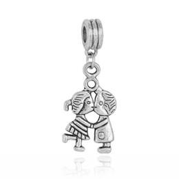 Wholesale Tibetan Silver Dangle Charms European - 20pcs lot Boy And Girl Dangle Big Hole Beads Tibetan Silver Fit European Charm Bracelet Jewelry DIY