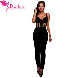 Wholesale Jumpsuits Longo - Wholesale- Dear-Lover Fall Sexy Club Rompers Black Spaghetti Strap Bustier Padded Bodycon Jumpsuit Overalls for Women Macacao Longo LC64126