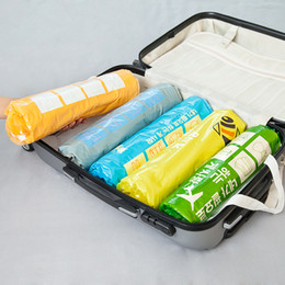 Wholesale Plastic Clothing Storage Bins - 3Pcs lot Hand-Rolled Space Saver Storage Bags Compressed Space Vacuum Seal Saver Storage Travel Bag Compression Storage Bag Bins