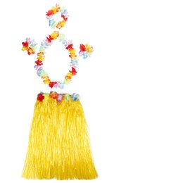 Wholesale Luau Dresses - 50 Sets 60cm Hawaiian Hula Grass Skirt + 4pc Lei Set for Child Luau Fancy Dress Costume Party Beach Flower Garland Set