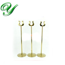 Wholesale Shape Place Holder - table number holder gold card stand silver wedding place card holders U shape table decoration stainless 10-30cm business card holder 5size