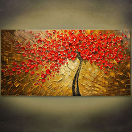 Wholesale Oil Painting Abstract Tree - Pure Hand Painted Modern Wall Decor Abstract Tree Art Oil Painting On High Quality Canvas.Multi customized sizes 8hk