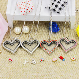 Wholesale Crystal Floats - Hot selling novelty love heart magnetic crystal DIY floating memory living locket pendant gift for girls women daughter with free chains