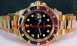 Wholesale Rubies Watch - New Fashion Luxury Stainless Steel Bracelet II Black Dial Sapphire Ruby Diamond Bezel 116758 WATCH CHEST 40mm Mechanical MAN WATCH
