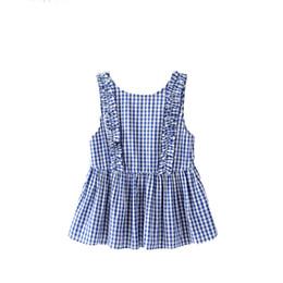 Camicia sleeveless senza schienale online-donne dolce ruches plaid bottoni camicie bottoni senza maniche backless camicetta a quadri da donna estate casual top blusas