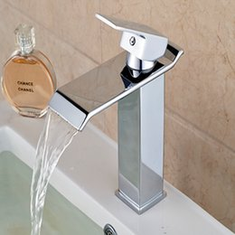 Wholesale Waterfall Style Bathroom Faucets - Wholesale- Hot Sale Waterfall Bathroom Basin Faucet Waterfall Spout Sink Mixer Tap Hot Cold Mixer with Two Style Pop Up Drain