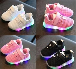 Wholesale Dmx Led Light Outdoor - New Led Light Sneakers Fashion Children Shoes Kids Shoes Luminous Glowing Sneakers Baby Toddler Boys Girls Shoes LED EU 21-25