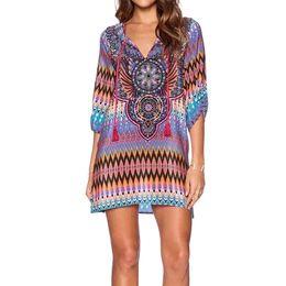 Wholesale Europe Celebrity Fashion - Geometric Retro Women Europe Celebrity Peplum Top 2016 New Chiffon Blouse Shirts Fashion Loose Kimono Blusinhas De Verao DM#6