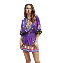 Wholesale Clothes For Sale China - 2017 Women Fashion Mini Sex Dress Print Half Sleeve O Neck Loose Short Dress African Clothing for Women China Cheap Things Sale