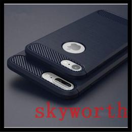 Caso do carbono do iphone 5s on-line-Armadura magro case para iphone 7 7 plus 6 5S SE Fibra De Carbono Escovado TPU Macio À Prova de Choque Tampa Traseira
