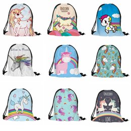 Wholesale Wholesale Kids School Lunch Bags - Unicon Print Cartoon Drawstring Bags for Children Lunch Bag Polyester Backpack for Kids Picnic School Trip Storage Accessories