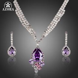 Orecchini a goccia azora online-AZORA Elegant Purple Cubic Zirconia Water Drop Collana pendente e orecchini Set di gioielli TG0164