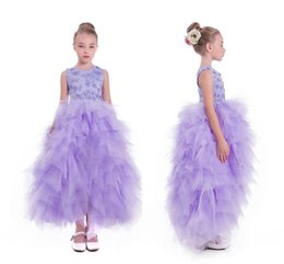 Wholesale Lilac Floral Wedding Dresses - Lilac 2017 Arabic Flower Girl Dresses 3D Floral Flowers Tiers Tulle Child Wedding Dresses Vintage Little Girl Pageant Dresses FG01