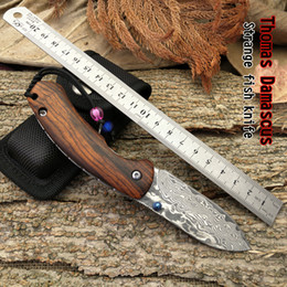 Wholesale Pure Fishing - Thomas Damascus Strange fish folding knife Handle material: rosewood pure handmade outdoor knife as a giftHigh quality free shipping
