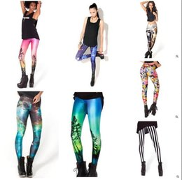 Wholesale Graffiti Leggings For Women - Pants for Women Leggings 2017 Women Elastic 107 Style Star Print Sexy Galaxy Leggings Slim Stretch Black Skull Graffiti Women Leggings