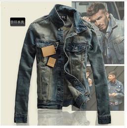Wholesale European Style Jackets - Wholesale- European style men retro do the old slim Distress denim coat jacket men Individuality casual denim coat jacket