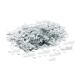 Wholesale Wedding Confetti Table Scatters - 1500pcs JUST MARRIED Heart Shape Silver Sparkle Wedding Confetti Table Decoration Scatter Sprinkles Wedding Decor Party Supplies