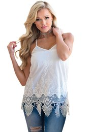 Wholesale Lace See Through Tank Top - Newest 2017 Summer New Arrivals Plus Size Vest Tops For Women See Through Embroidered Lace Detailed Trim Tank chemisier femme