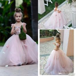 Wholesale Spaghetti Strap Flower Girl Dresses - Princess Blush Pink Flower Girls Dresses Appliques Spaghetti Straps Ruffles Tulle Pageant Dresses for Girls Long Girl Dresses for Wedding
