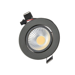 Wholesale Led Downlights Black - Wholesale- Black Dimmable COB LED Downlights 3W 6W 9W recessed ceiling led down light warm white led spot for bedroom dinning room