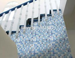 2019 piscina blu colore Nuovo! resina con tessere di mosaico shell incorporato, irregolare, cucina backsplash piastrelle bagno doccia parete mosaico, piastrelle interne