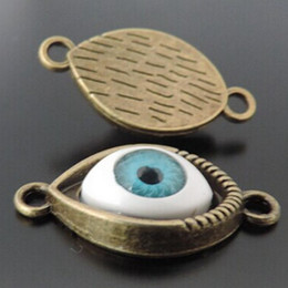 Wholesale Evil Eye Connector Free - Wholesale-Wholesale 25pcs Antiqued bronze Blue Evil Eye Alloy Charms Connector Pendant fashion jewelry finding for necklace free shiping