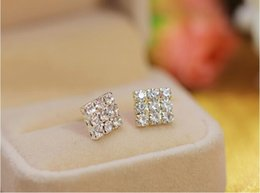 Wholesale Diamond Square Stud Earring - Hot Top full crystal diamond Square Striped Stud Earring crystal stud earring wholesale free shipping