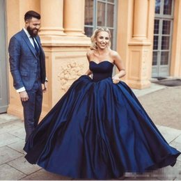 Wholesale Long Sleeve Beaded Ball Gowns - Navy Blue Ball Gown Prom Dresses 2017 Modern Sweetheart Sleeveless Zipper Back Arabic Women Formal Evening Gowns Custom Made Plus Size Satin