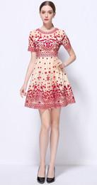 Wholesale Sexy Luxury Dress Mini - Luxury Women Embroidery A-Line Dress Short Sleeve Mini Party Dresses 12M16321