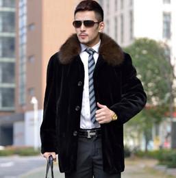 Wholesale Mink Fashion Clothing - Mink fur coat men medium-long trench coat mens single-breasted clothing overcoat fashion jaqueta de couro masculino plus size
