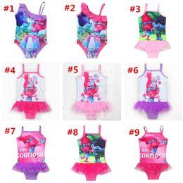 Wholesale Girls White Swimsuit - Trolls Kids Swimwear 2017 Movie Print Swimsuit One-Piece Children Summer Bikini Beach Swim Clothes Pool Bathing Suits Free Ship
