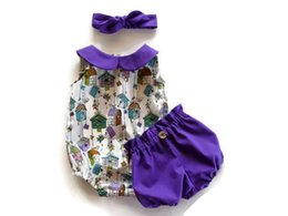 Wholesale American Girl Houses - Retail Ins New Baby Girls Three Piece Clothing Sets House Print Bodysuit+Purple Shorts+Headband Toddler Clothing 0-2Y SH019